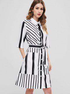 ZAFUL Striped Button Up Pocket Shirt Dress - White S