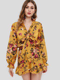 ZAFUL Floral Print Long Sleeve Ruffles Romper - Yellow S