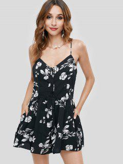 ZAFUL Floral Print Adjustable Straps Swing Romper - Black L