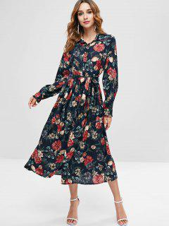 ZAFUL Floral Midi Shirt Dress - Black L