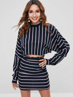 ZAFUL Striped Drop Shoulder Skirt Set - Deep Blue L