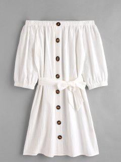 Off Shoulder Buttoned Mini Dress - White M