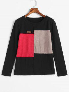 Faux Suede Trim Color Block T-shirt - Black L