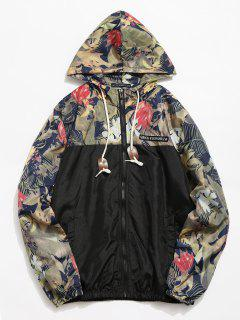 Floral Printed Patchwork Hooded Jacket - Black M