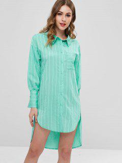 ZAFUL Striped Shirt Dress - Light Sea Green L
