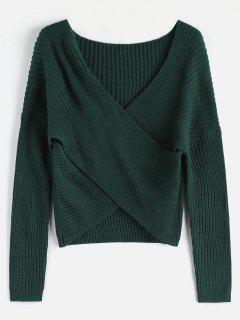 ZAFUL Chunky Knit Overlap Sweater - Deep Green