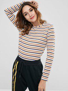 Camiseta De Manga Larga Con Rayas De Colores ZAFUL - Multicolor L