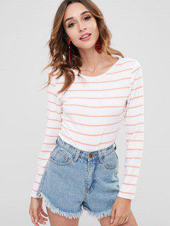 ZAFUL Striped Long Sleeve Knitted Bodysuit - White L