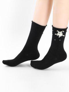 Cute Faux Pearl Floral Ankle Socks - Black