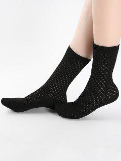 Vintage Solid Color Hollow Out Mid Calf Socks - Black
