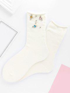 Calcetines De Media Caña De Imitación De Color Perla De Imitación De Color - Blanco