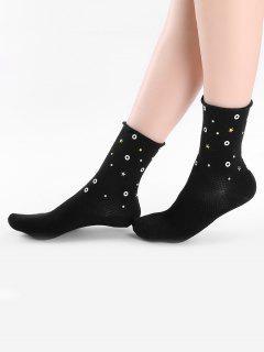 Vintage Solid Color Star Ankle Socks - Black