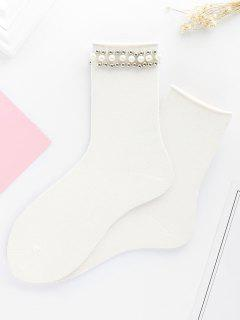 Cute Faux Pearl Knitted Ankle Socks - White