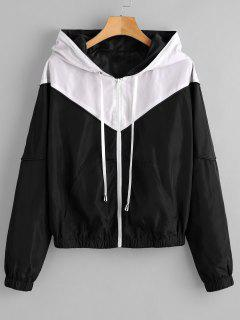 ZAFUL Zip Up Two Tone Windbreaker Jacket - Black L