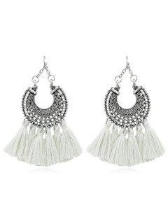 Bohemian Tassel Drop Earrings - White
