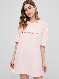 Brief Bestickt Graphic Tee Kleid - Rosa L