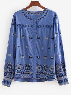 Blusa Con Top De Cambray Bordado Con Estampado De Flores - Azul L