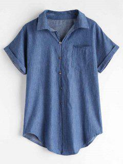 Camisa De Cambray Manga Corta - Azul L