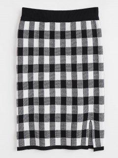 Jupe Crayon Taille Haute à Carreaux - Multi