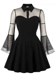 Plus Size Mesh Panel Flare Sleeve A Line Dress - Black 3x