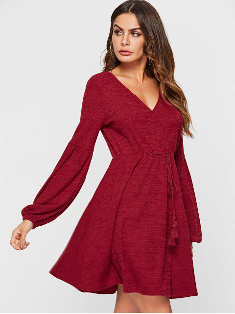 new ZAFUL Balloon Sleeve A Line Knit Sweater Dress - RED WINE L Mobile