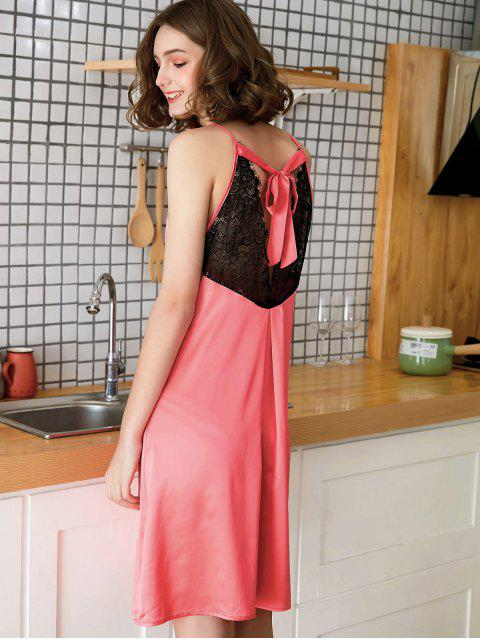 affordable Cutout Back Lace Slip Nightdress - FIRE ENGINE RED M Mobile
