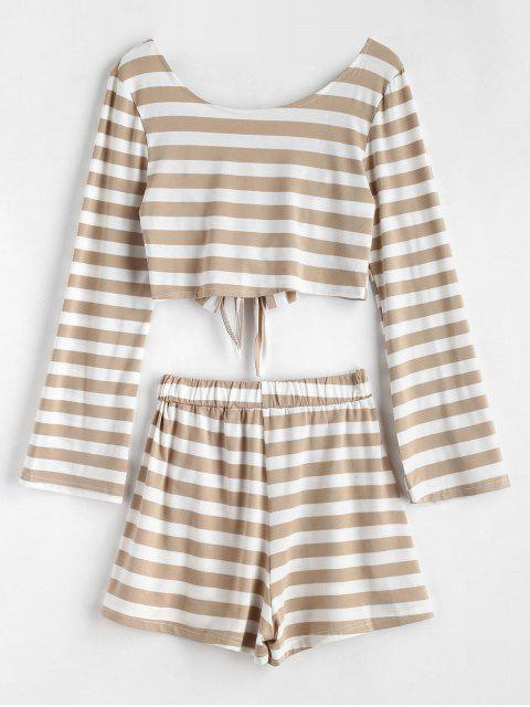 online Knotted Back Striped Top Set - MULTI S Mobile