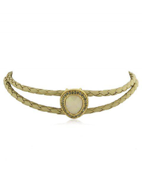 Runde Harz Stein Choker Halskette - Beige  Mobile