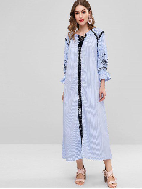 outfit Striped Crochet Trim Long Dress - SKY BLUE 2XL Mobile
