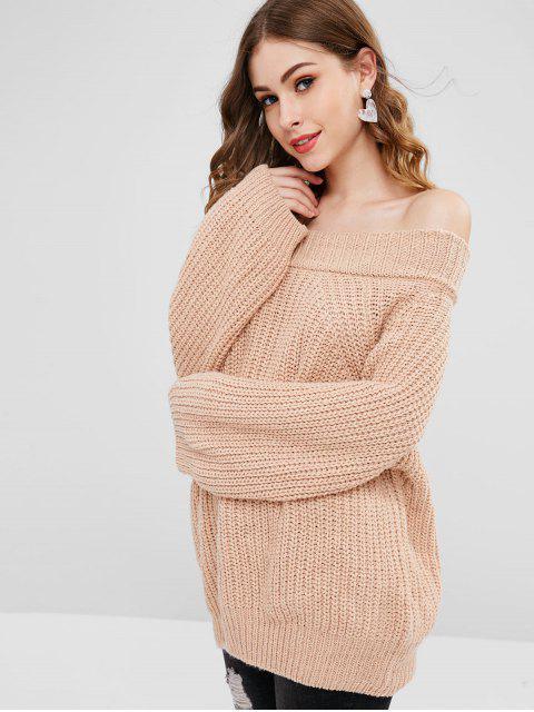 Freund weg von der Schulter-Pullover-Strickjacke - Helles Khaki Eine Größe Mobile