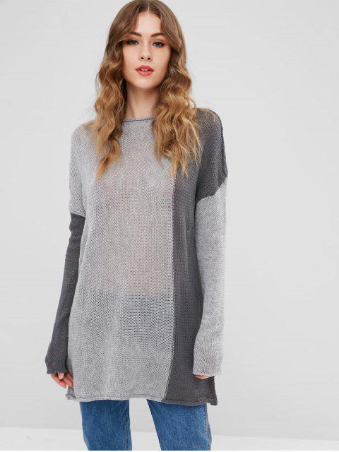 Semi Sheer Drop Schulterpullover - Grau Eine Größe Mobile