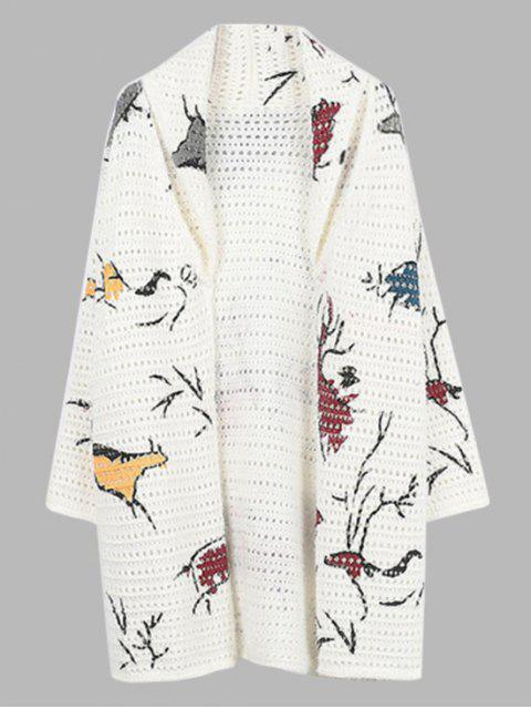 Gemusterte Open Stitch Front Cardigan - Weiß Eine Größe Mobile