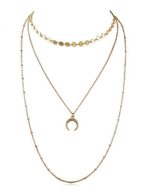 Layered Crescent Moon Kette Halskette - Gold  Mobile
