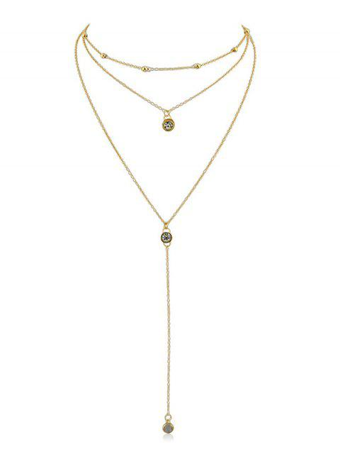 sale Rhinestone Layer Pendant Chain Necklace - GOLD  Mobile