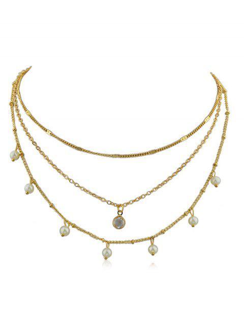 Collar de cadena de capas de perlas artificiales - Oro  Mobile