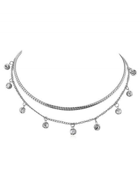 Legierung Layered Kette Strass Halskette - Silber  Mobile