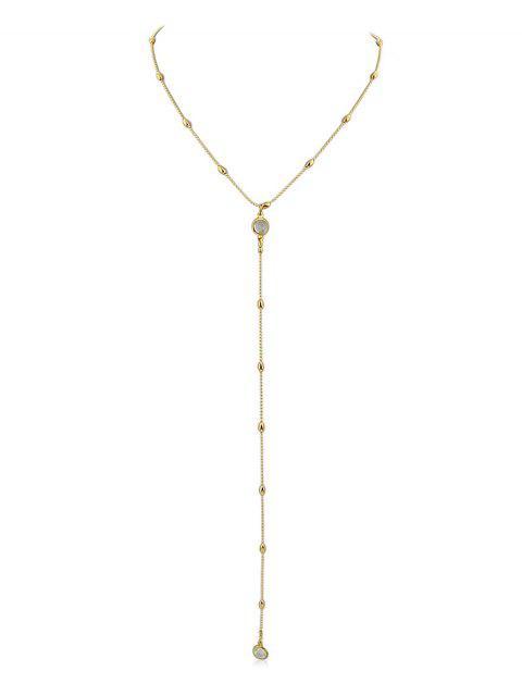 Y Shaped Perlen Kette Anhänger Halskette - Gold  Mobile