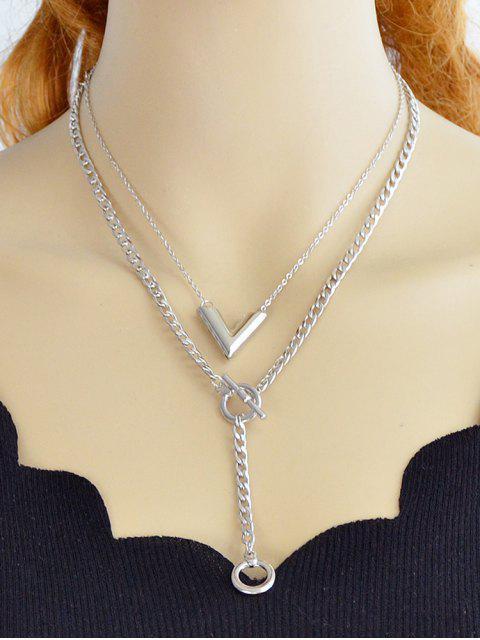 Runde Design Layer Kette Halskette - Silber  Mobile