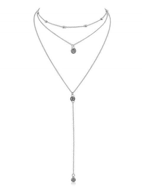 Strass Layer Anhänger Kette Halskette - Silber  Mobile