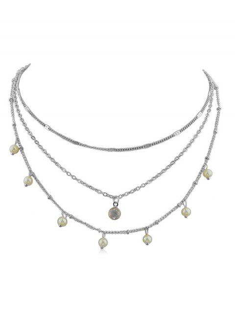 Collar de cadena de capas de perlas artificiales - Plata  Mobile