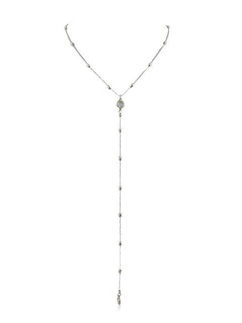 hot Y Shaped Beads Chain Pendant Necklace - SILVER  Mobile