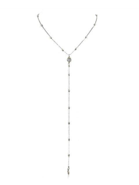 Collar colgante de cadena de perlas en forma de Y - Plata  Mobile