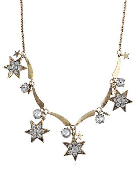 Strass Hexagramm Kette Halskette - Gold  Mobile