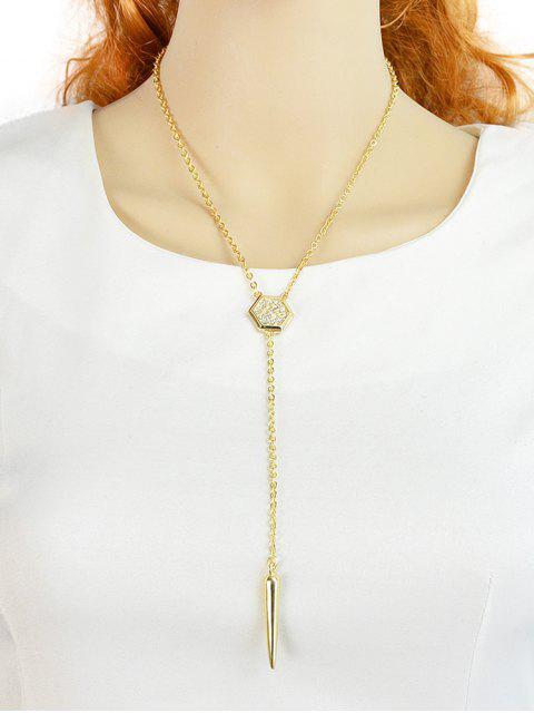 Kette Geometrische Strass Anhänger Halskette - Gold  Mobile