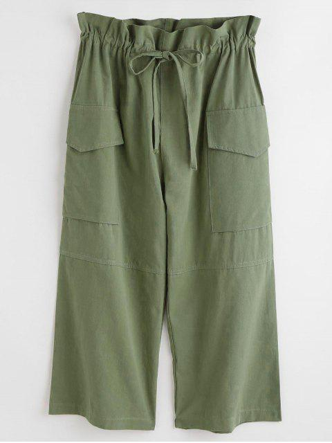 buy Drawstring Pocket Crop Pants - FERN GREEN ONE SIZE Mobile