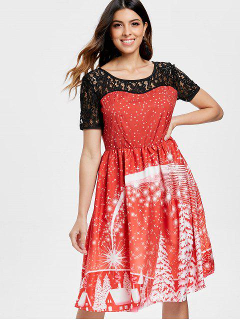lady Print Lace Panel Vintage Party Dress - RED L Mobile