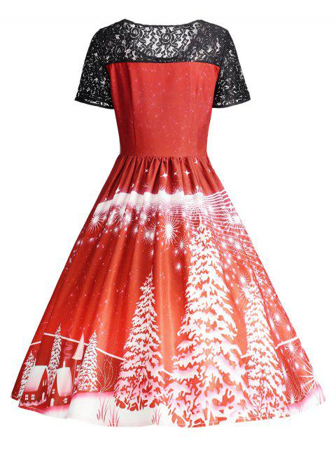 new Print Lace Panel Vintage Party Dress - RED XL Mobile