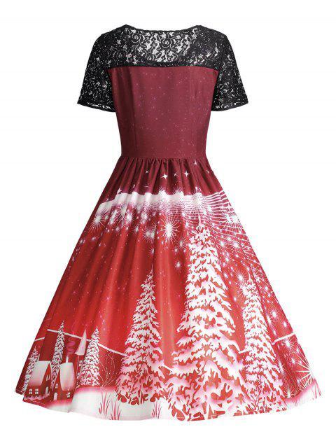 Robe de Soirée de Noël Vintage Effet en Dentelle - Rouge Foncé L Mobile