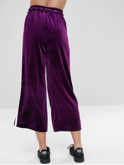 Pantalones de pierna ancha de terciopelo rayada lateral - Púrpura L Mobile
