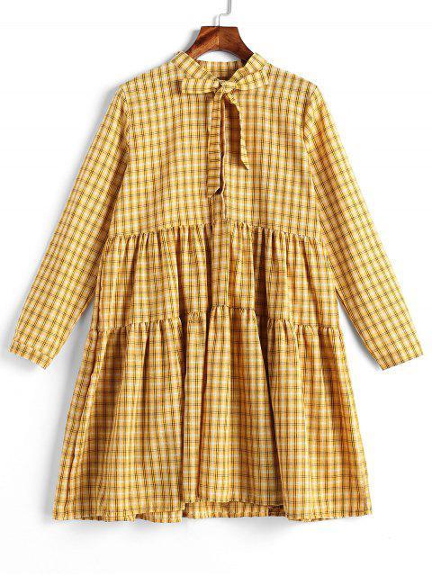 Langarm-Tartan-Shirt-Kleid - Gelb Eine Größe Mobile